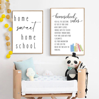 Black White Homeschool Rules Art Prints Home Sweet Quote Canvas Painting Wall Pictures Minimalist Poster Classroom Wall Decor image
