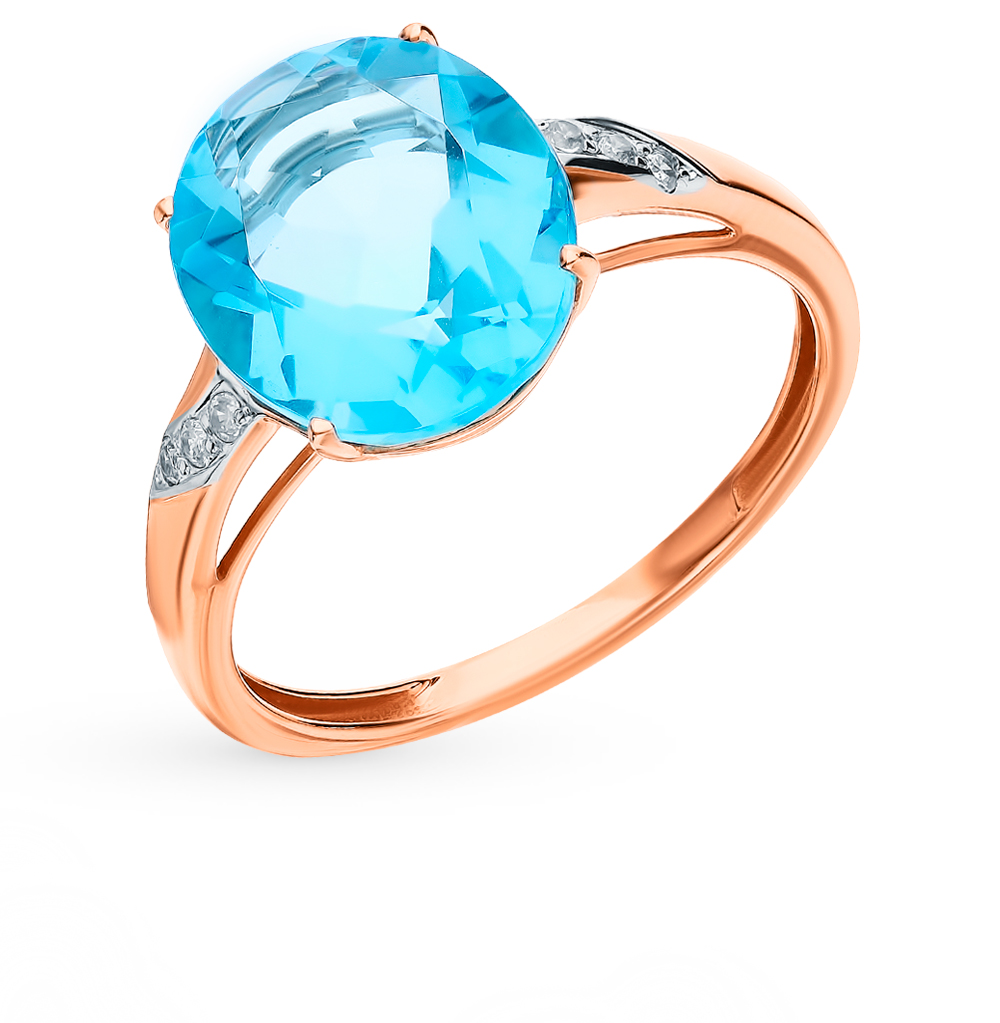 Gold Ring With Topaz And Diamonds Sunlight Sample 585