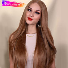 Silky Straight Long Brown 13x6 Synthetic Lace Front Wigs With Natural Hairline Lace Front Wig For White Women(China)