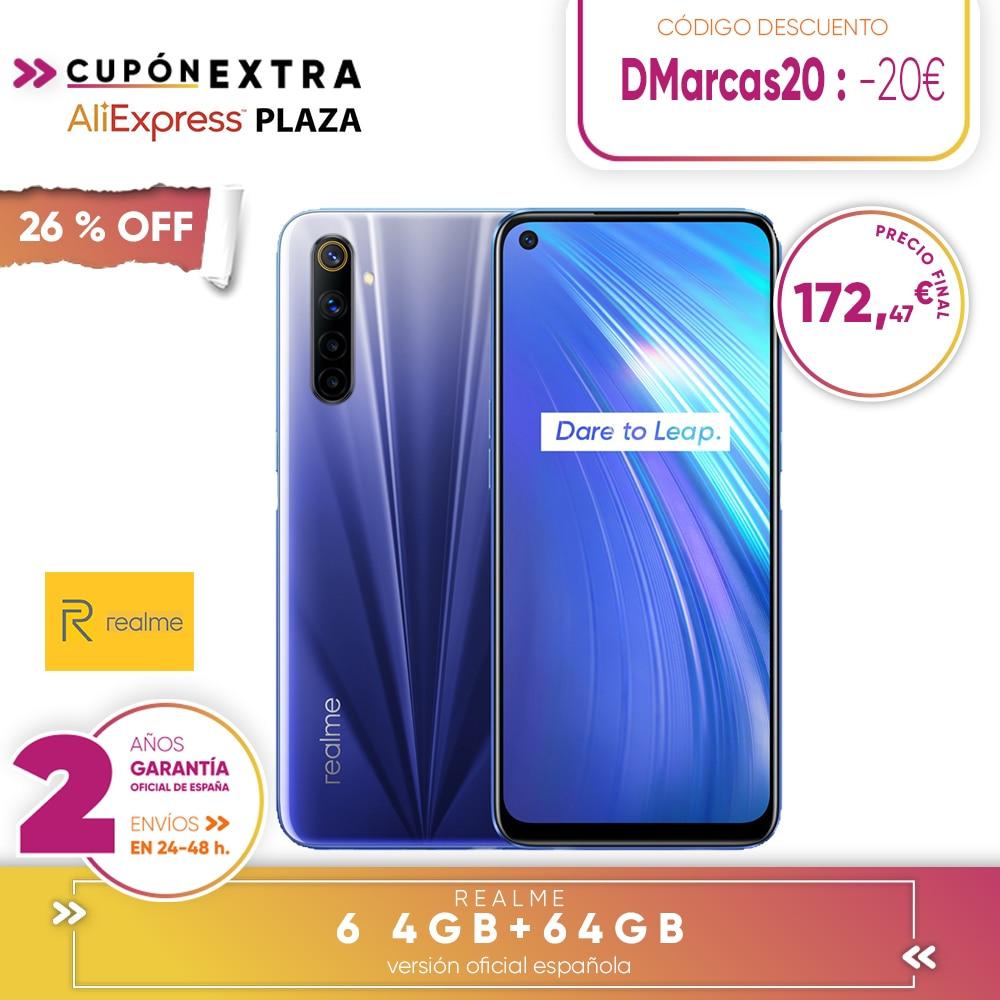 [Official Spanish Version Warranty] Realme 6 4 + 64gb, 4 + 128gb, 8 + 128gb Smartphone Octa Core, Four Camaras, Reader Side Paw Prints