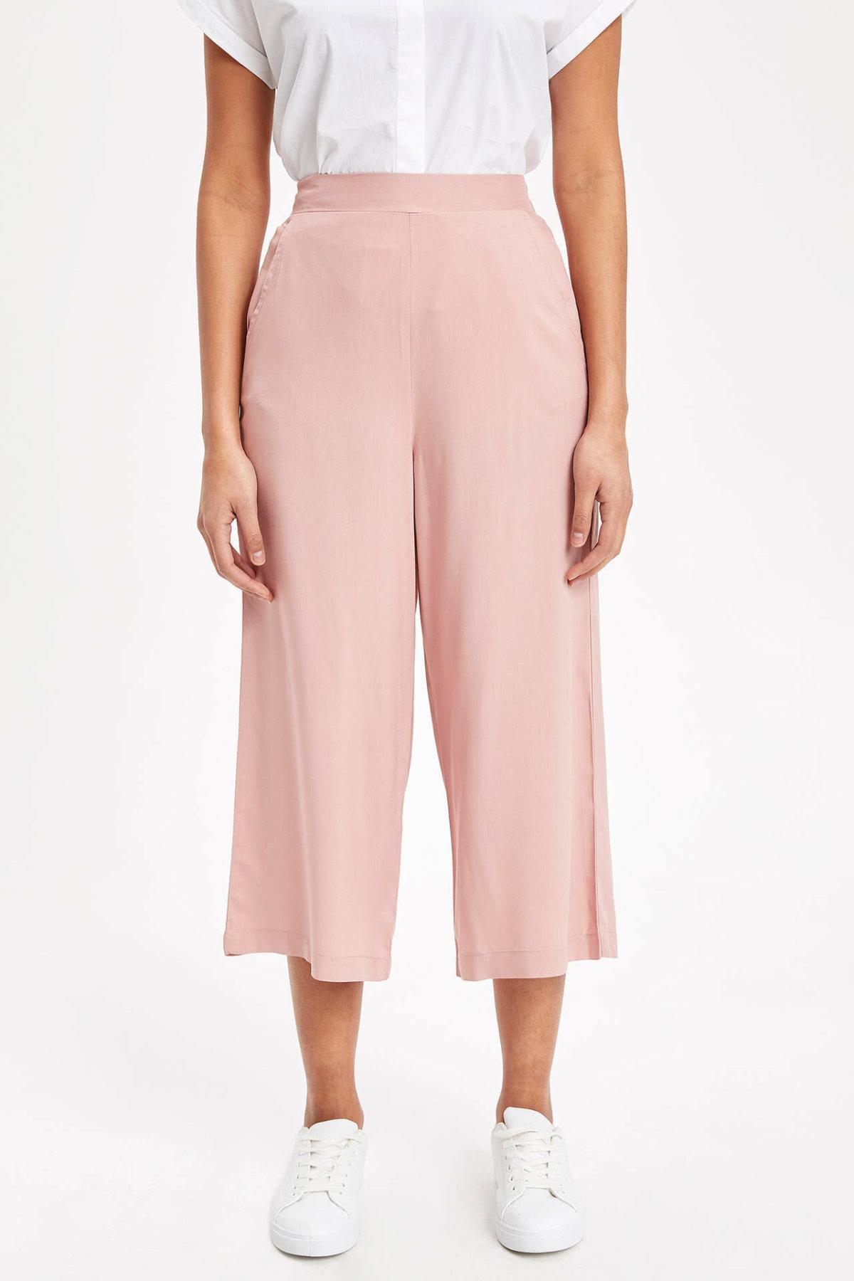 DeFacto Woman Summer Spring Wide-leg Pants Pink Black Color Women Loose Pants Casual Bottoms Female Trousers-K7379AZ19SM