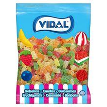 VIDAL gummy bears sugar bag 1 KG. Assortment of strawberry, lemon, orange and apple flavor treats. GLUTEN Free, fat free