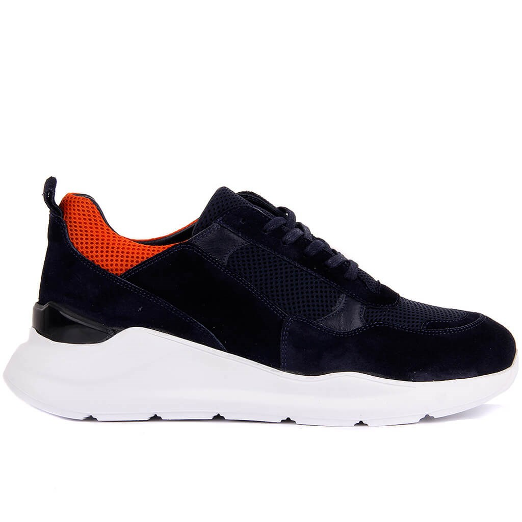 Sail Lakers-Navy Blue Suede Leather Men Sneaker