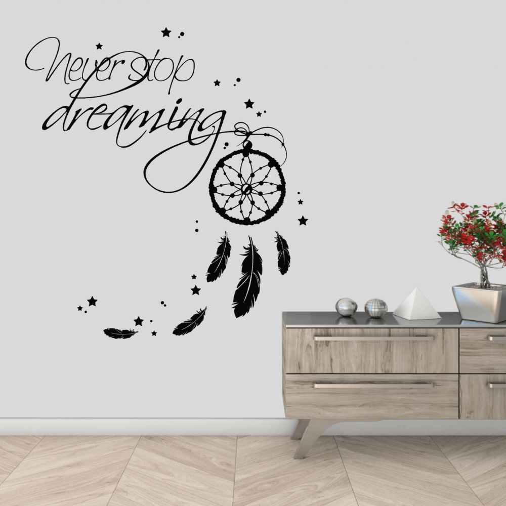 Never Stop Dreaming  Dream Catcher Wall Sticker Mural  Dreamcatcher Home Living Room Decoration Removable A002023