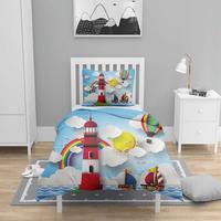 Mais 4 pçs azul mar luz casa navio nordec 3d impressão algodão cetim crianças capa de edredão conjunto cama fronha folha Capa de edredom     -