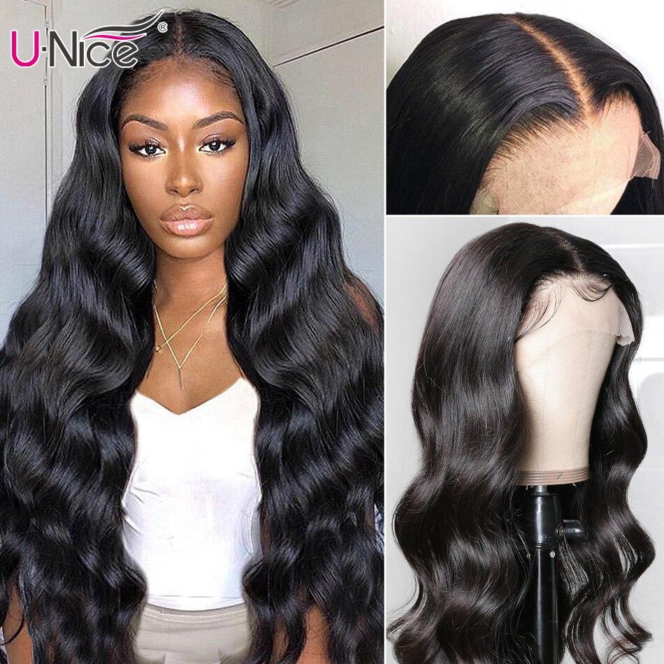 Волосы Unice 13*4 кружевные передние человеческие волосы парики предварительно сорванные с волосами младенца бразильские объемные волнистые п...