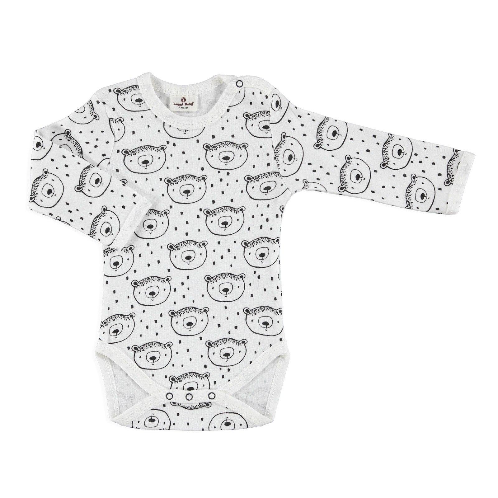 Ebebek Luggi Winter Baby Boy Organic Bear Long Sleeve Bodysuit