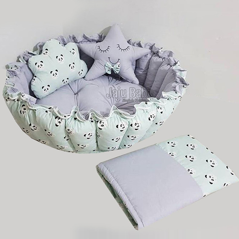 Gray Combined Babynest Play Mat With Jaju Baby Panda Design Roll-Up Luxury Play Bed