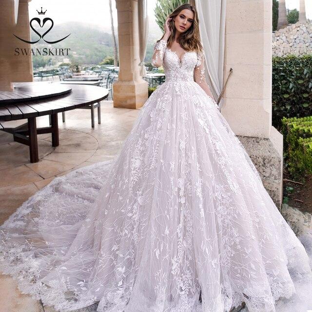 Long sleeves Ball Gown Wedding Dress Swanskirt K185 Sweetheart Appliques Lace Chapel Train Princess Bride Gown Vestido de Noiva