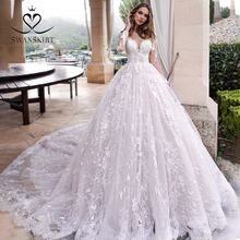 긴 소매 공 가운 웨딩 드레스 Swanskirt K185 Sweetheart appiques 레이스 채플 기차 공주 신부 가운 Vestido de Noiva