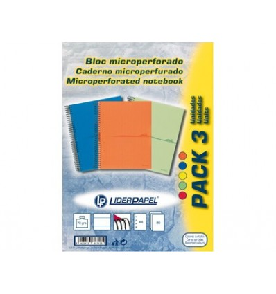 SPIRAL NOTEBOOK LEADERPAPER MICROPERFORATED A4 80H HORIZONTAL 1 COLORS 4 HOLES THINK PACK 3 PIECES ASSORTED
