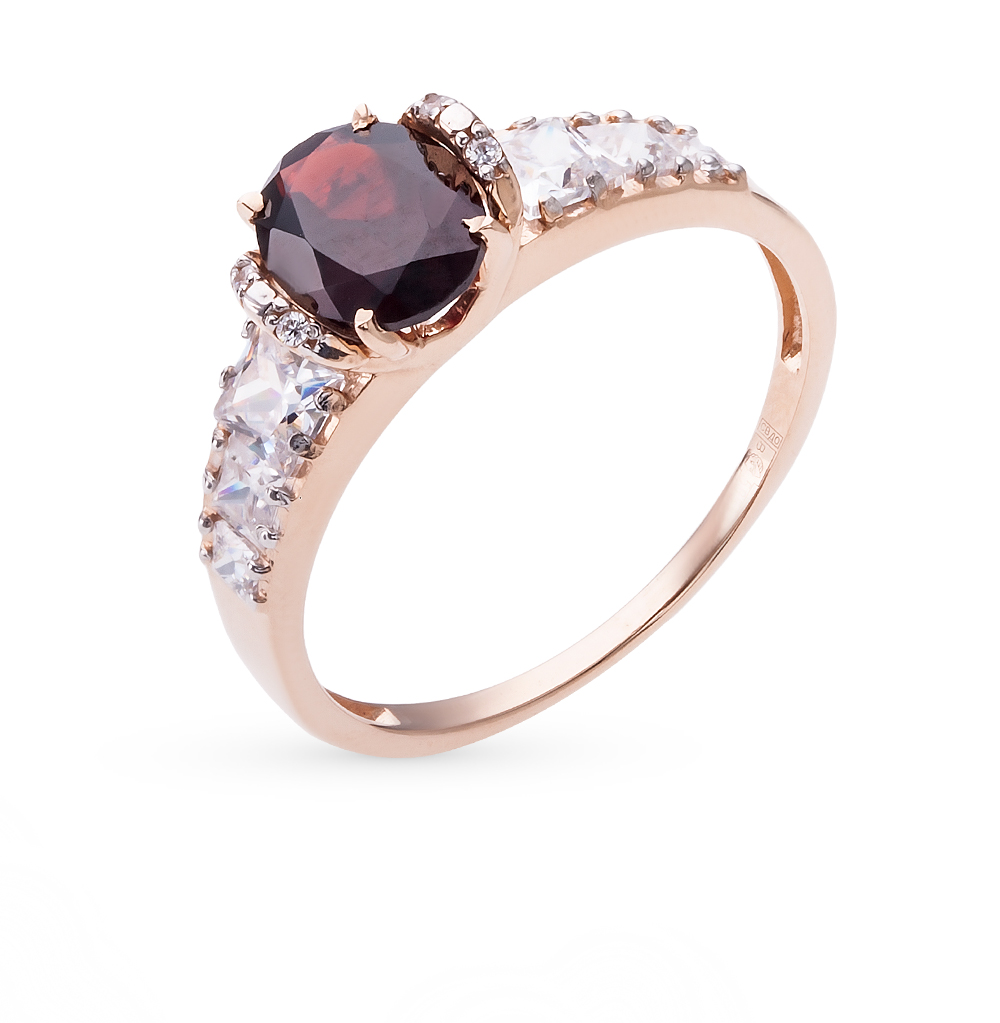 Gold Ring With Cubic Zirconia And Garnet Sunlight Sample 585