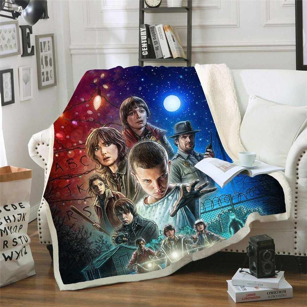 Stranger Things Print Plush Throw Blanket Sherpa Fleece Bedspread Home Blankets For Beds Square Camping Picnic Soft Blanket