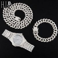 Halskette + Uhr + Armband Hip Hop Miami Curb Kubanischen Kette Silber Farbe Voll Iced Out Gepflasterte Strass CZ Bling für Männer Schmuck