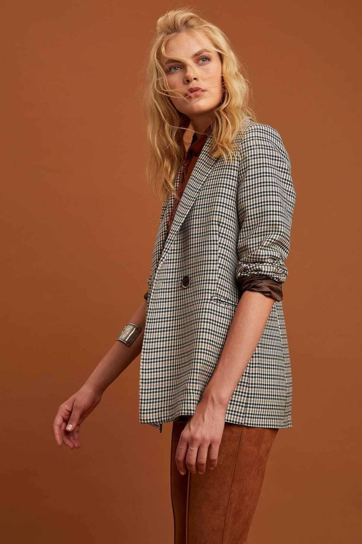 DeFacto Mode Frau Revers Formale Jacken Einfache Plaid Büro Anzüge Frauen Casual Hohe Qualität Mäntel Damen-M6276AZ19WN