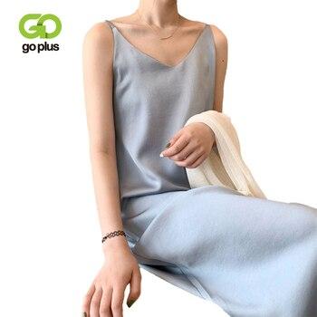 GOPLUS Women's Dress Satin Sling Strap Dresses Sexy Summer Backless Dress 2021 Ropa Mujer Sukienki Letnie Robe Femme Vestidos 1