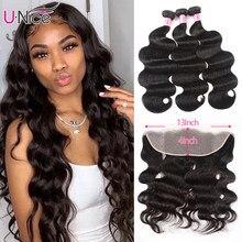 Mèches Lace Frontal Closure brésiliennes Body Wave – UNice Hair, cheveux naturels, 13x4, avec Frontal