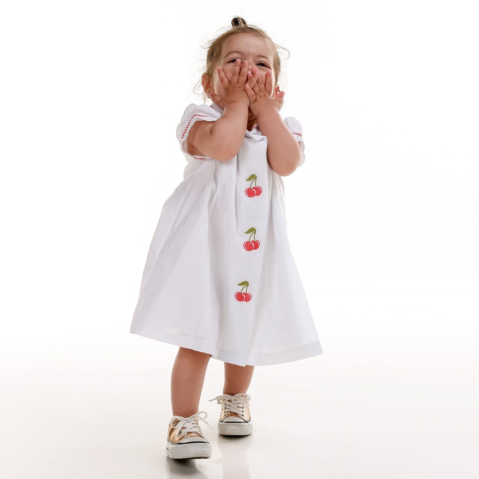 Ebebek For My Baby Girl Cherry Petter Pan Collar Embroidered Dress