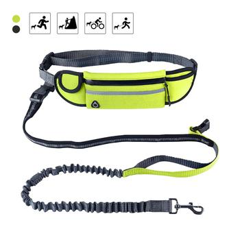 Hands Free Dog Leash Reflective Waterproof Dog Lead Running Leash for Medium Large Dogs Adjustable Waist Belt with Pouch hand free elastic dog leash adjustable padded waist reflective running jogging walking pet lead belt with pouch bags 4 colors