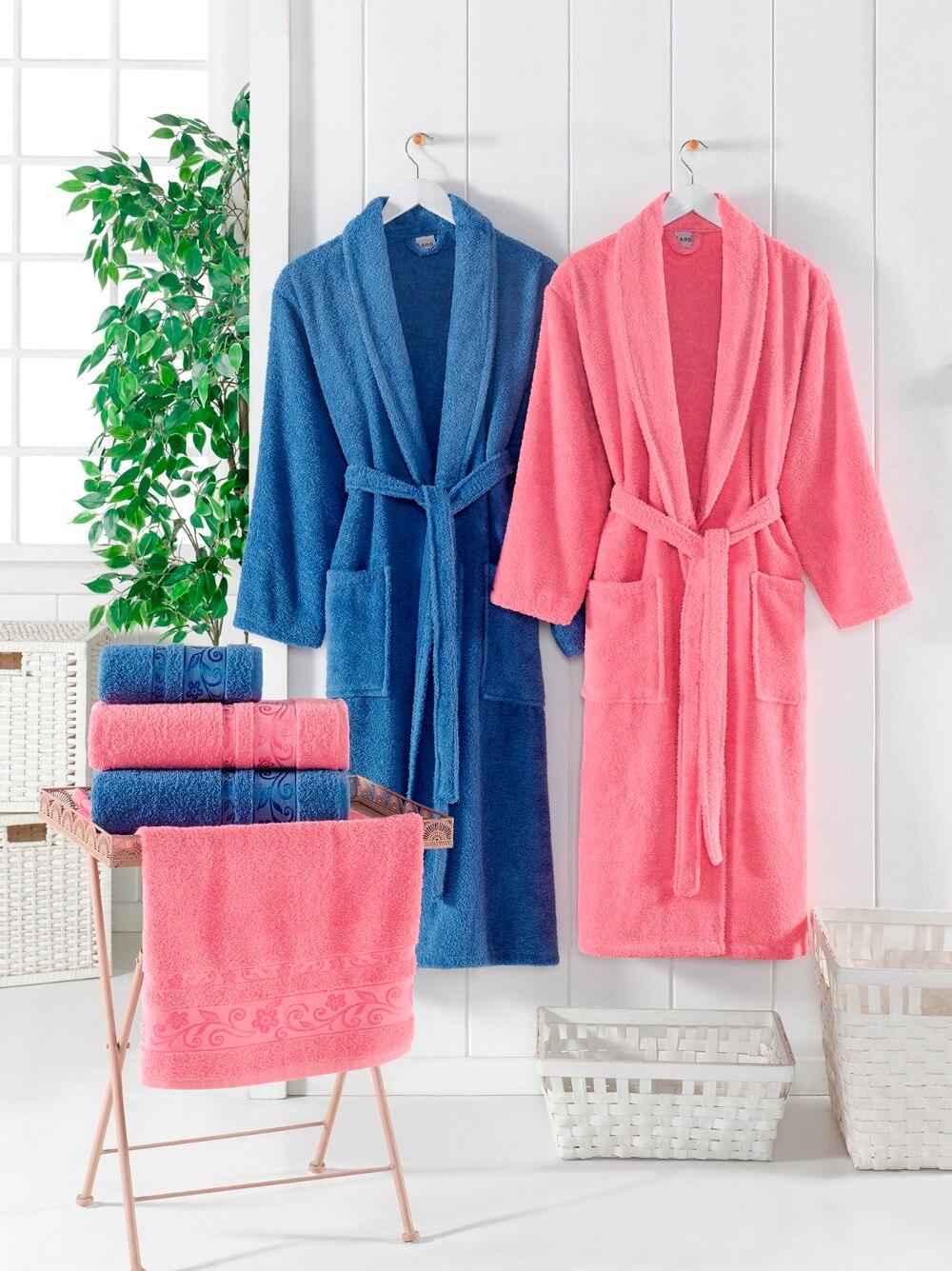 MicroCotton Bathrobe Family Set 6 pcs Men's Bathrobes Women's Bathrobes Extra Long Premium Cotton Bathrobe Bath Towel Hand Towel