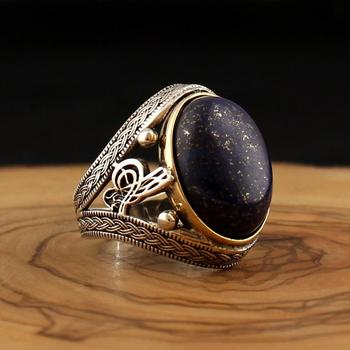 цена 925 Sterling Silver Ring for Men Lapis Aqeeq Natural Stone Jewelry fashion vintage Onyx Zircon Gift Mens Rings All Size women онлайн в 2017 году