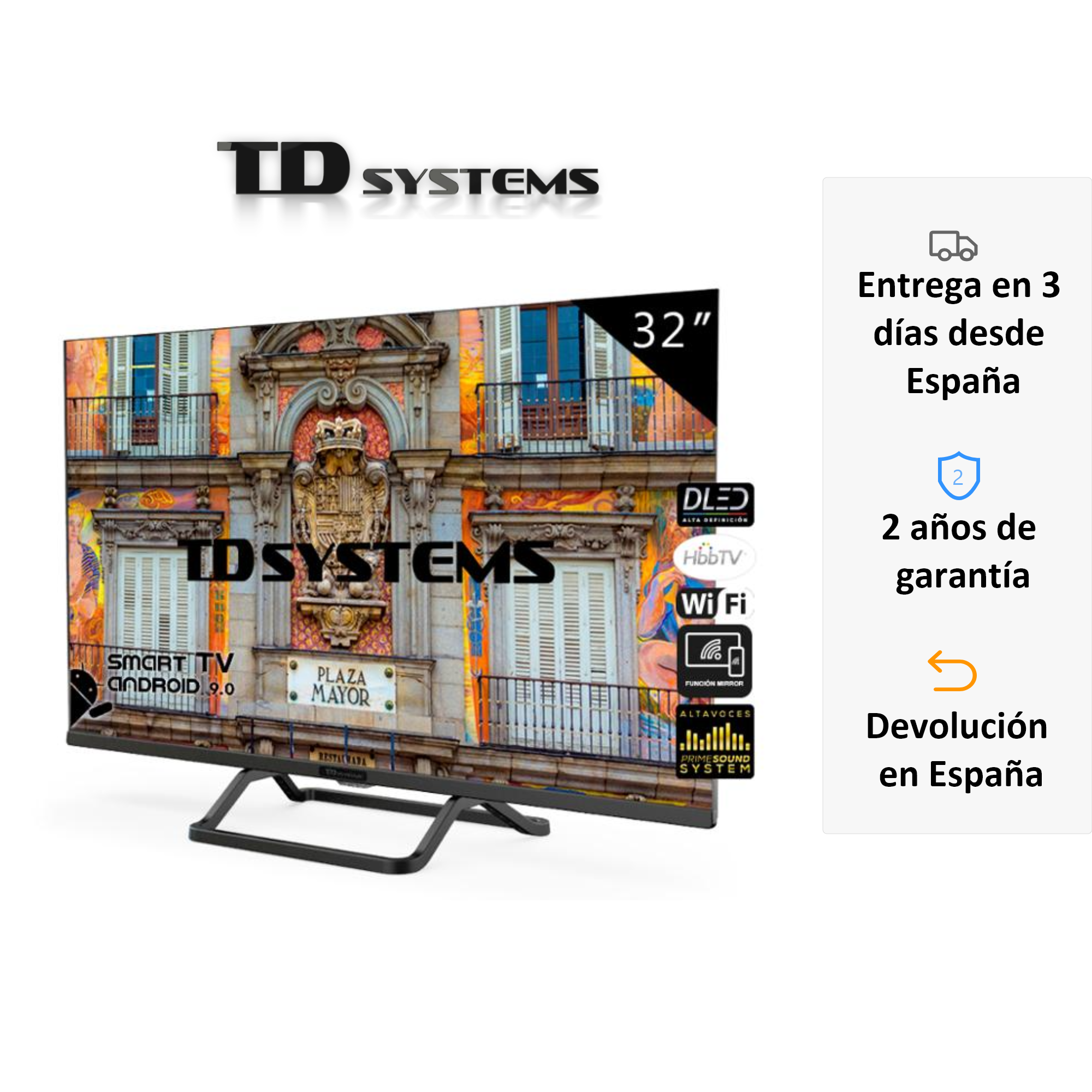 Televisions Smart TV 32 Inch TD K32DLX10HS Systems. 3x HDMI, DVB-T2/C/S2, HbbTV [Shipping From Spain, Guarantee Old 2]
