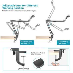 Image 4 - Neewer NB 35 Microphone Scissor Arm Stand Mic Clip Holder and Table Mounting Clamp&NW Filter Windscreen Shield & Metal Mount Kit
