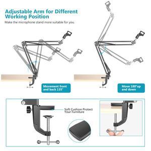 Image 4 - Neewer NB 35 Mikrofon Scissor Arm Stehen Mic Clip Halter und Tisch Montage Clamp & NW Filter Windschutz Schild & Metall mount Kit