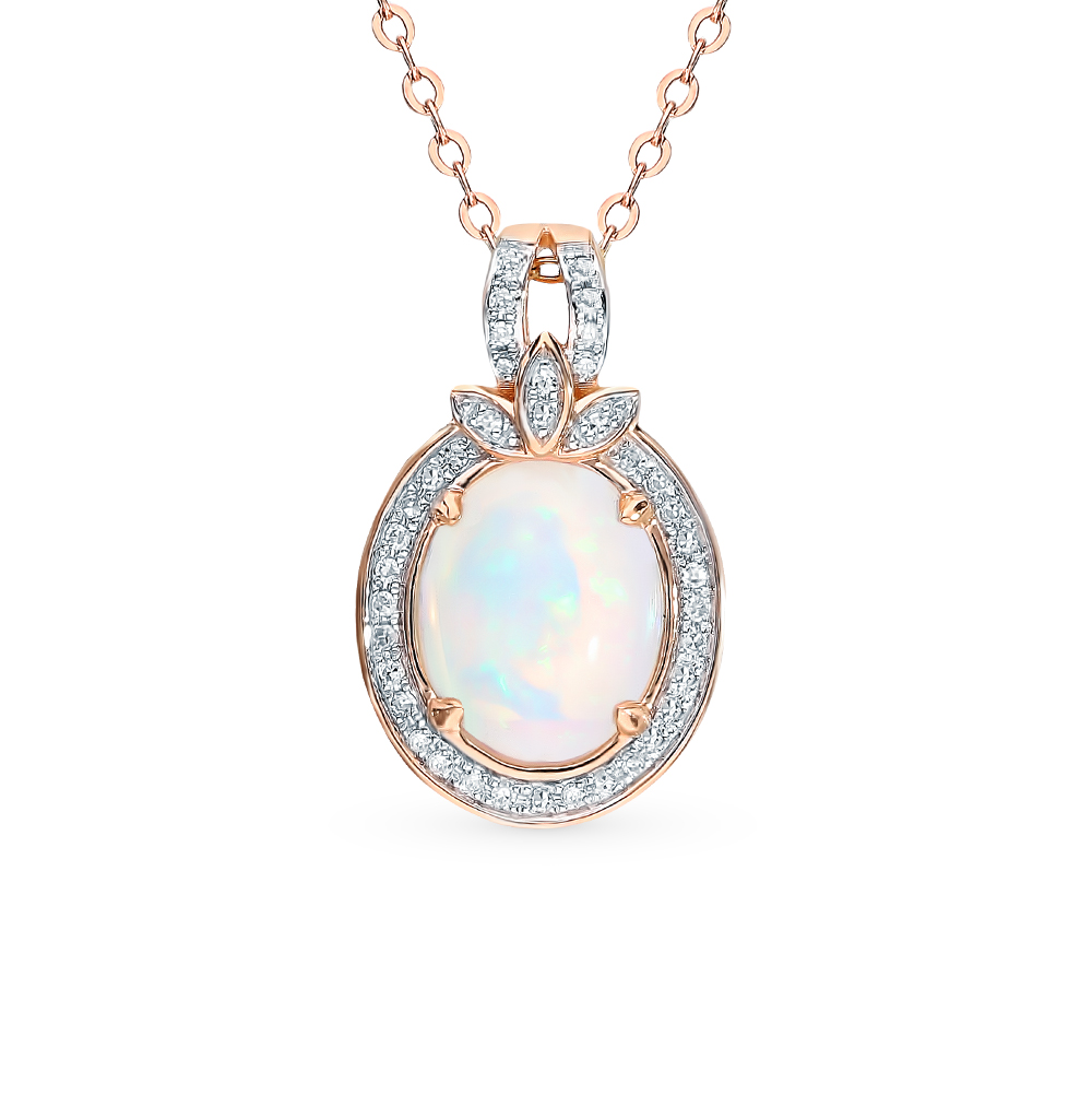 Gold Pendant With Opal And Diamond SUNLIGHT Test 585