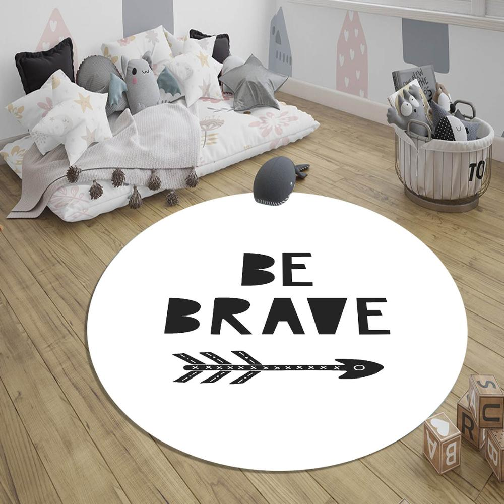 Else Black White Be Brave Arrow 3d Pattern Print Anti Slip Back Round Carpets Area Round Rug For Kids Baby Children Room