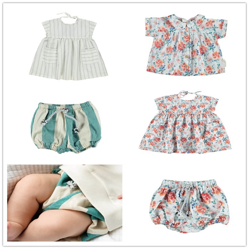 IN STOCK 2020 PIU Summer Baby Girl Clothes Sets Sweet Princess Dress Set Boy Striped Top Shorts Set
