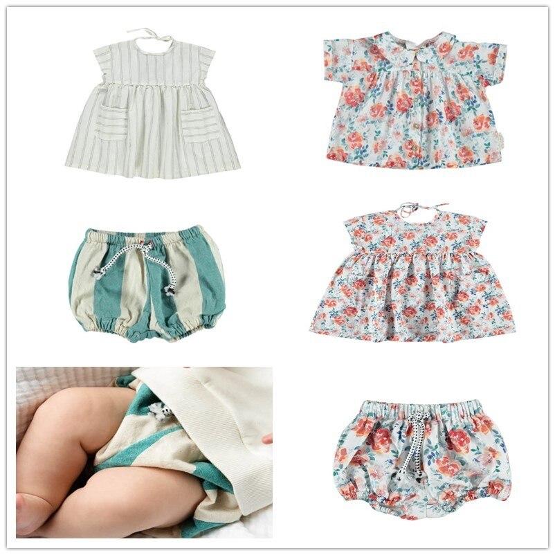 IN STOCK 2020 PIU Summer Baby Girl Clothes Sets Sweet Princess Dress Set Boy Striped Top Shorts Set