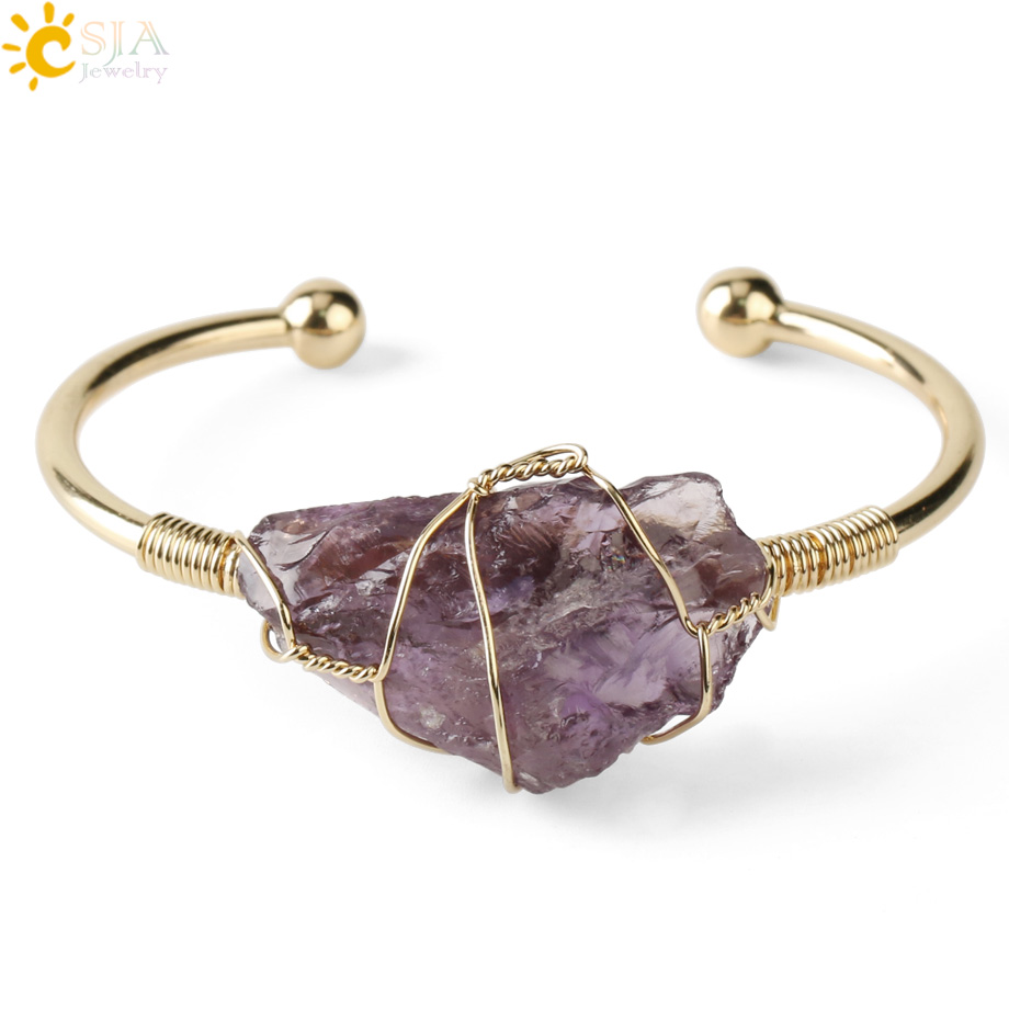 CSJA Natural Stone Bangle Gold-color Wire Wrap Irregular Crystal Quartz Cuff Copper Bracelets for Women Girls Kids Jewelry G327(China)