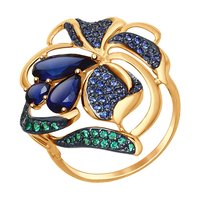 Sokolov ring in Gold with corundum sapphire (Sint.) and green and blue cubic zirconia, fashion jewelry, gold, 585, women's male