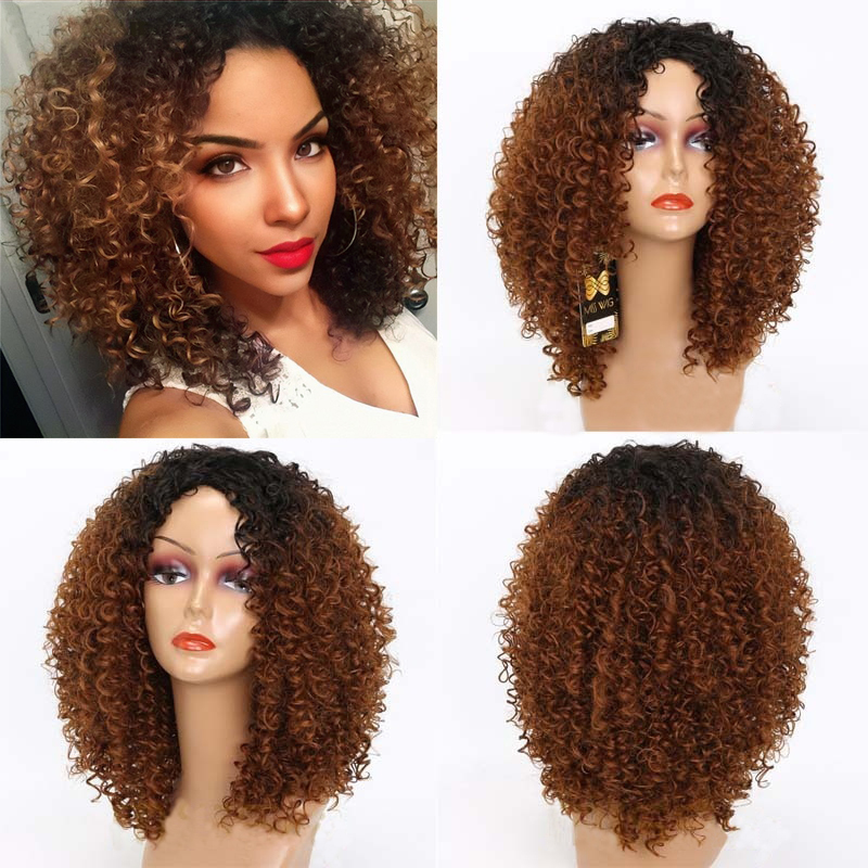 LINGHANG  Long Red Black Afro Wig Kinky Curly Wigs For Black Women Blonde Mixed Brown 250g Synthetic Wigs High Temperature Fiber