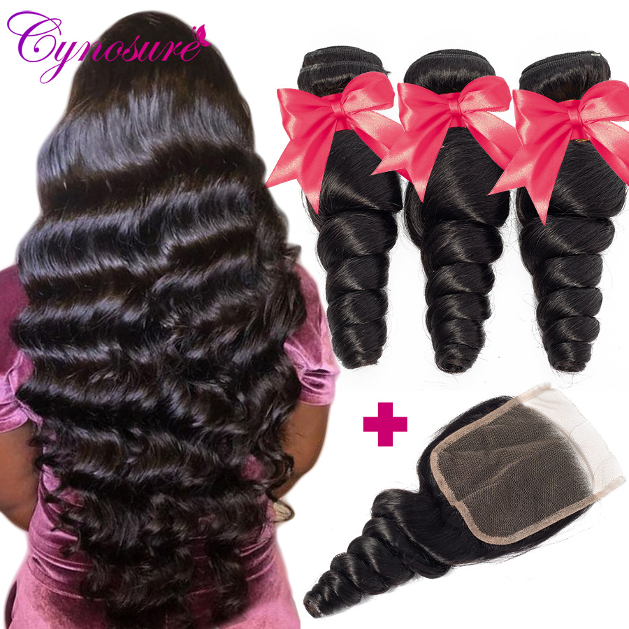 Cynosure Loose-Wave-Bundles Weave Brazilian-Hair with Remy title=