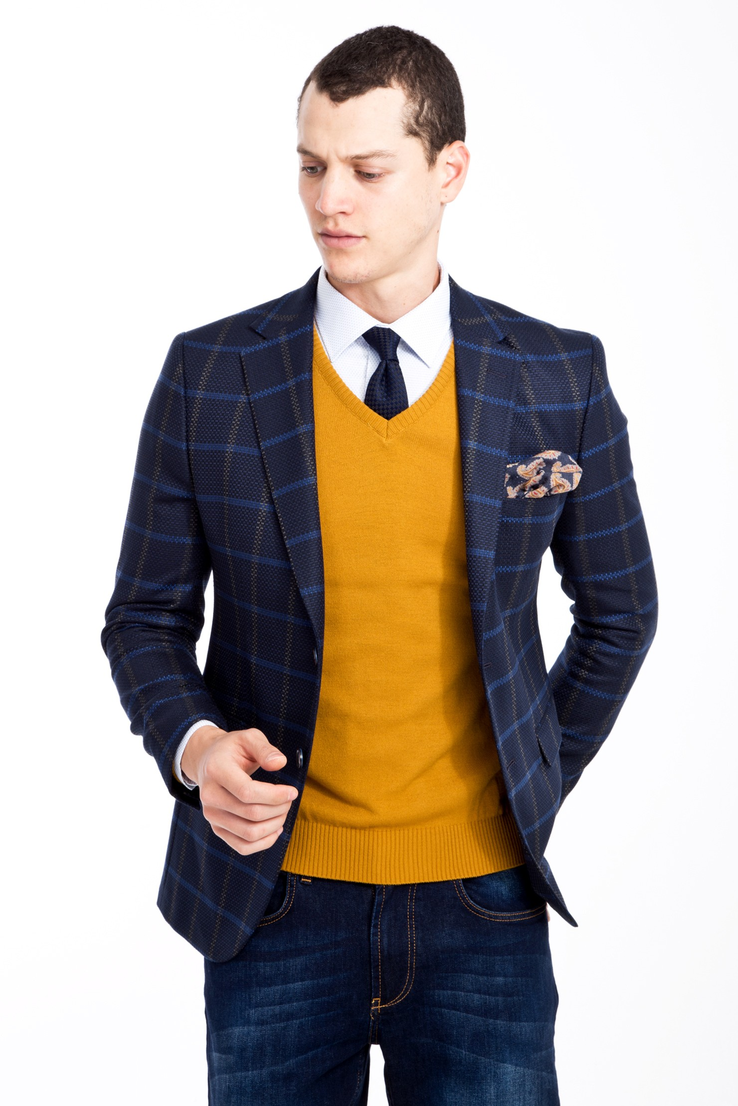 Kigili Slim Fit Casual 2 Button Single Breasted Plaid Blazer Easycare Polyester Check Patterned Made In Turkey Navy Blue