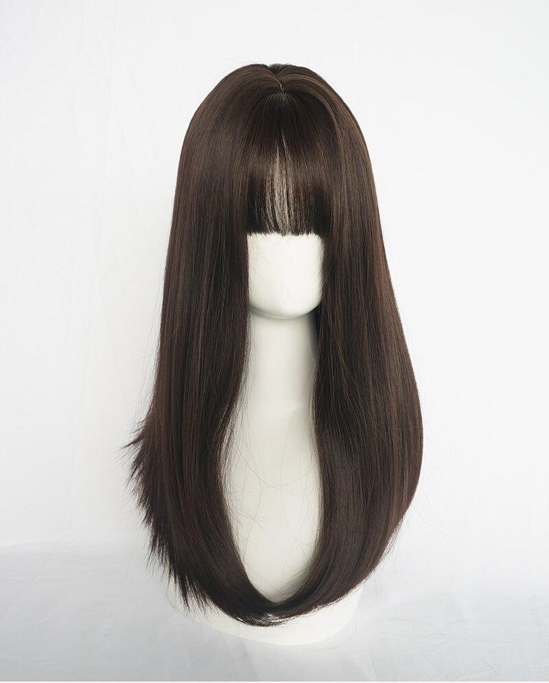 Mcoser peruca de cabelo sintético, 65cm, preta,