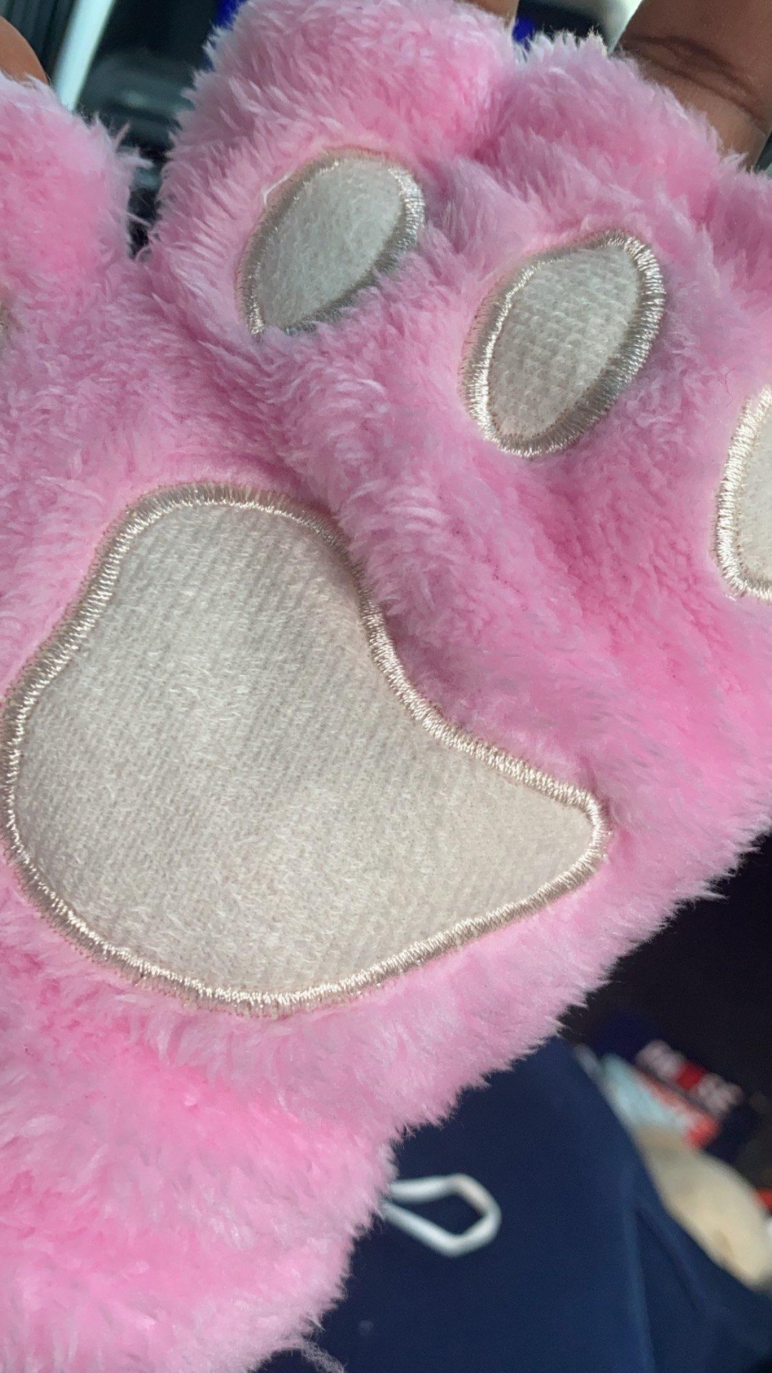 Plush Cat Paw Fingerless Mittens photo review