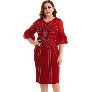 Women's Plus Size Office Work bodycon Birthday party falbala casual Midi Red dress