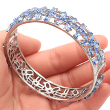 74x14mmEuropean Style Big 27.6g Created Violet Tanzanite Gift For Ladies Silver Bangle Bracelet 7.5 inch