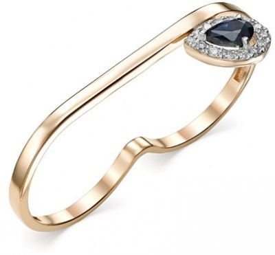 Master Brilliant Ring Drop With Sapphire And Diamonds In Red Gold