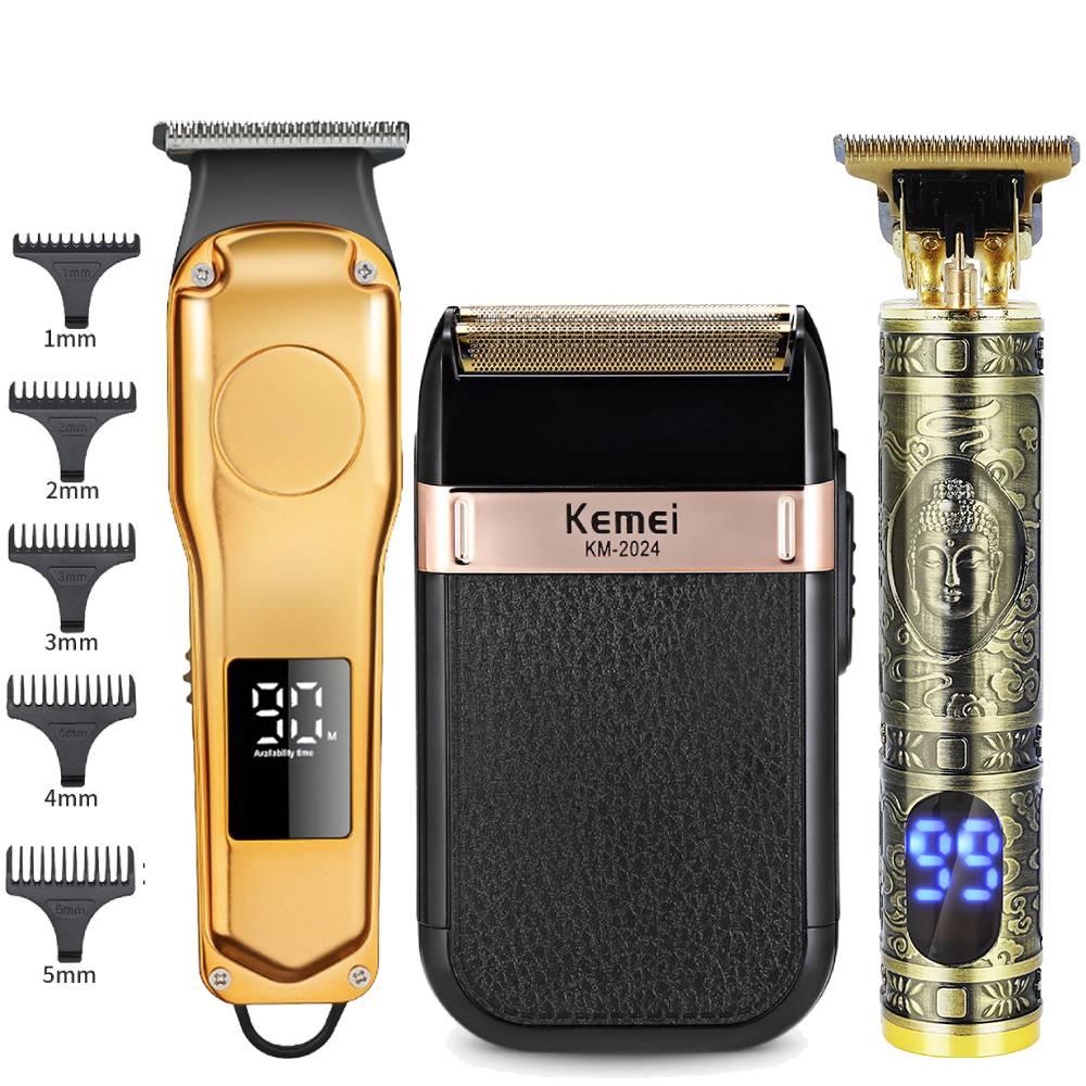 Barbeiro profissional máquina de cortar cabelo elétrico recarregável t-outliner máquina de corte aparador de barba navalha de barbear para homens cortador