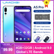 "UMIDIGI A5 Pro Android 9.0 Octa-core 6.3"" Mobile Phone 16MP Triple Camera 4150mAh 4+32GB Global LTE 4G Fingerprint Smartphone(China)"