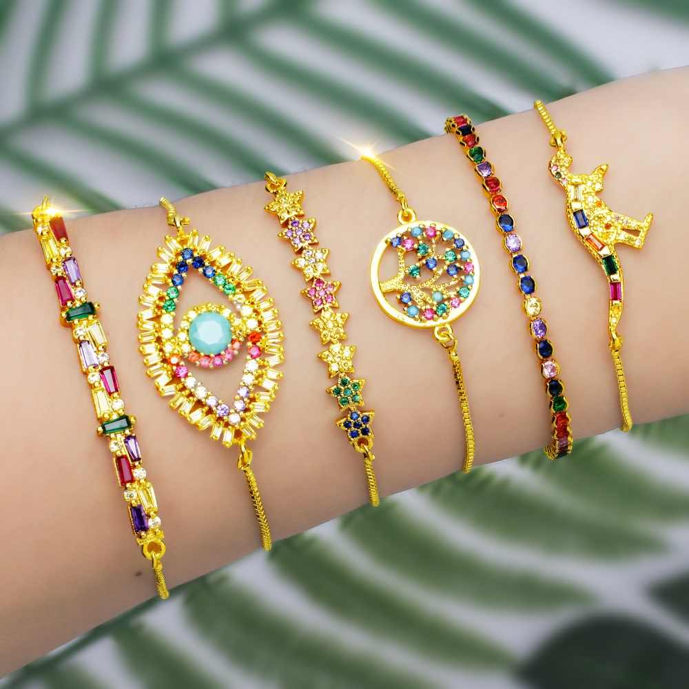 fashion rainbow series shell bracelet&bangle jewelry colorful zircon adjustable bracelet copper cross chain bracelets gift