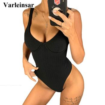 2020 New Sexy High Cut Women Swimwear Ribbed Underwired One Piece Swimsuit Female Bather Bathing Suit Swim Lady Bodysuit V1607 1