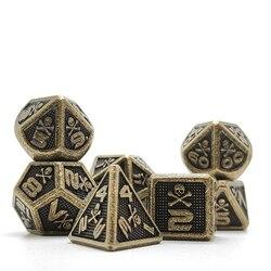 Skull Cusdie 7 Uds Metal brillante D & D dados, Metal DND dados, juego de dados de Metal poliédrico, para juego de rol MTG Pathfinder