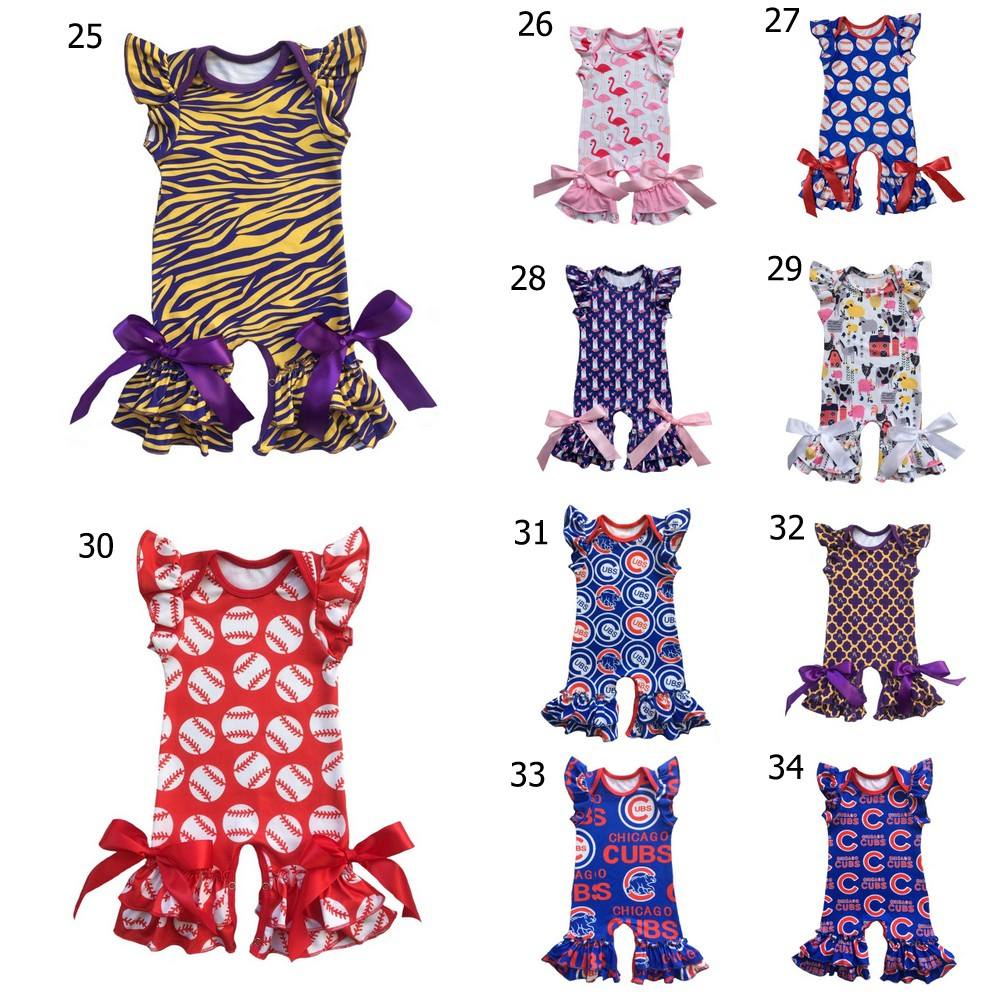 wholesale Purple Gold tiger custom print Infant clothes baseball football Jumpsuit   Romper   baby gown for NEW ORLEANS Mardi Gras