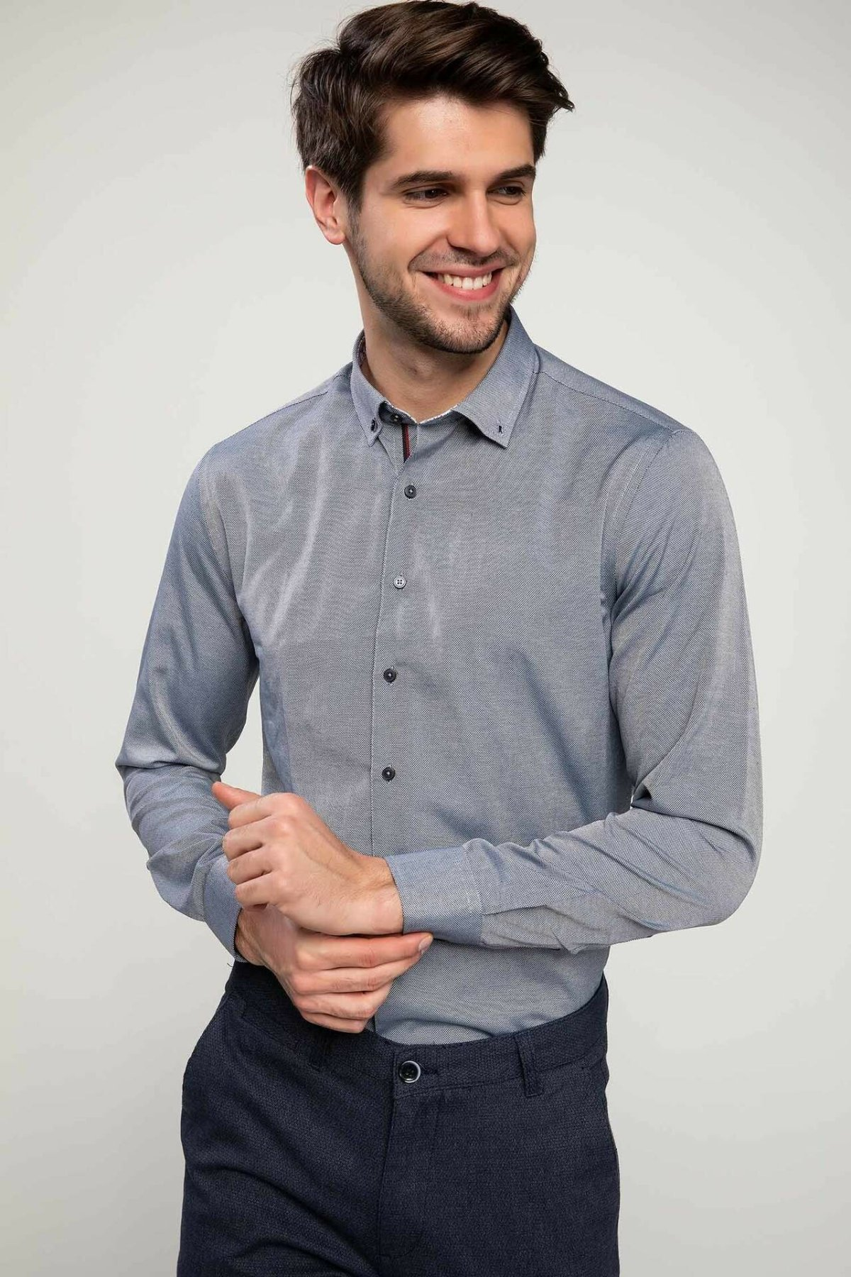 DeFacto Formal Autumn Fashion Man Lapel Long Sleeve Shirt Men's Casual High Quality Solid Blousers Male Loose Shirts-I7196AZ18AU