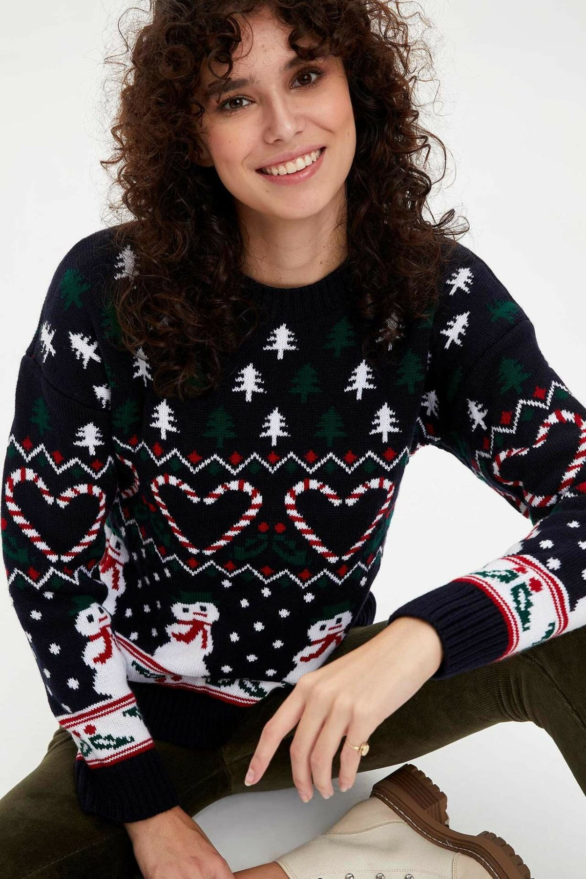 DeFacto Woman Winter Chirstmas Pattern Black Pullover Women Lovely Snowmen Heart Knitted Sweatshirts Pullovers-L4602AZ19WN